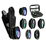 8 in 1 Phone Camera Lens Kit, 0.63Wide Angle Lens+15X Macro+198°Fisheye+2X Telephoto+Kaleidoscope+CPL/Starlight/Universal Clip, Zoom Compatible with iPhone Samsung Smartphones (Black) (Color: black)