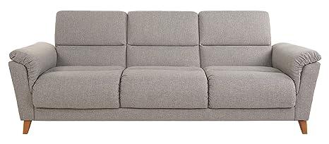 Leader Lifestyle Elan Canapé-lit 3places moderne en le tissu gris, bois