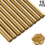 15 Pieces Glue Gun Sealing Wax Sticks for Retro Vintage Wax Seal Stamp and Letter, Great for Wedding Invitations, Cards Envelopes, Snail Mails, Wine Packages, Gift Wrapping (Bronze) (Color: Bronze)