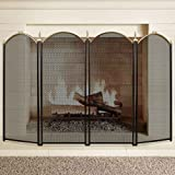AMAGABELI GARDEN & HOME FBA_S41012PK Large Gold Fireplace Screen 4 Panel Ornate Wrought Iron Black Metal Fire Place Standing Gate (Color: Fireplace Screen, Tamaño: 4 panel)