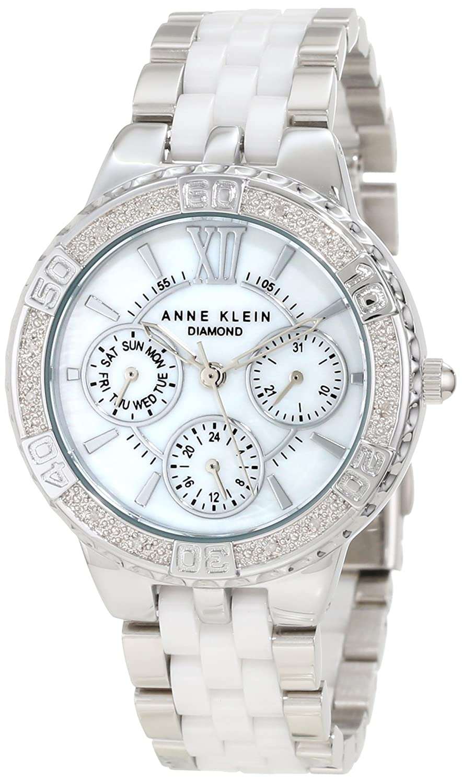 Anne Klein Women's 10/9731MPWT Diamond Accented Silver-Tone Multi-Function Watch