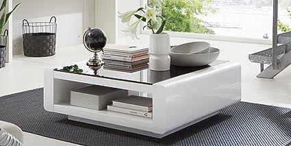 Couchtisch quadratisch Hochglanz Lack Schwarzglas Soleil Weiß (100x100cm)