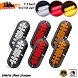 Meerkatt Pack of 6 4 Inch Clear Lens 4 Red /& 2 White LED 12 Diodes Sealed Surface Mount Round Trailer Lights Shockproof Lorry Jeep Truck Buses Tractor RV Caravan 12V DC Parking Backup Tail Lamp GK12