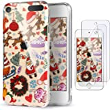 iPod Touch 7th Generation Case with 2 Screen Protectors, IDWELL iPod Touch 6 Case, iPod 5 Case, Slim FIT Anti-Scratch Flexible Soft TPU Bumper Hybrid Shockproof Protective Cover, Christmas Playground (Color: Christmas Playground)