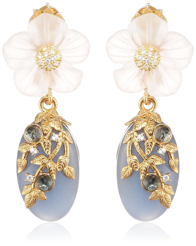 Misis Damen-Ohrringe Naturalia 925, Silber, Vergoldet, Zirkonia weiß Saphir Quarz 4 cm – OR09087BL online kaufen