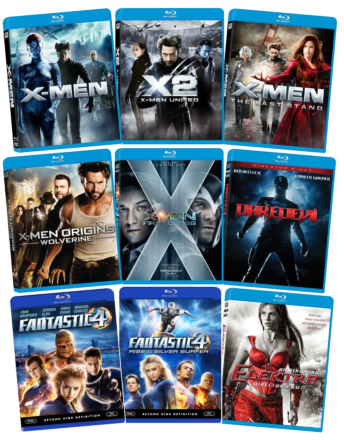 Marvel Blu-ray Bundle (X-Men, X-Men 2, X-Men 3, X-Men First Class, Wolverine, Fantastic Four, Fantastic Four 2, Daredevil, Elektra) $59.99