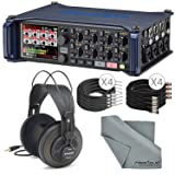 Zoom F8 Multitrack Field Recorder for Filmmaking and Sound Design w/ Samson SR850 Headphones, 1/4-Inch Cable, 3 Pin XLR Cable, FiberTique Microfiber Cleaning Cloth