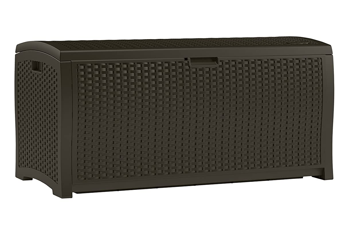 Suncast DBW9200 Mocha Resin Wicker Deck Box, 99-Gallon