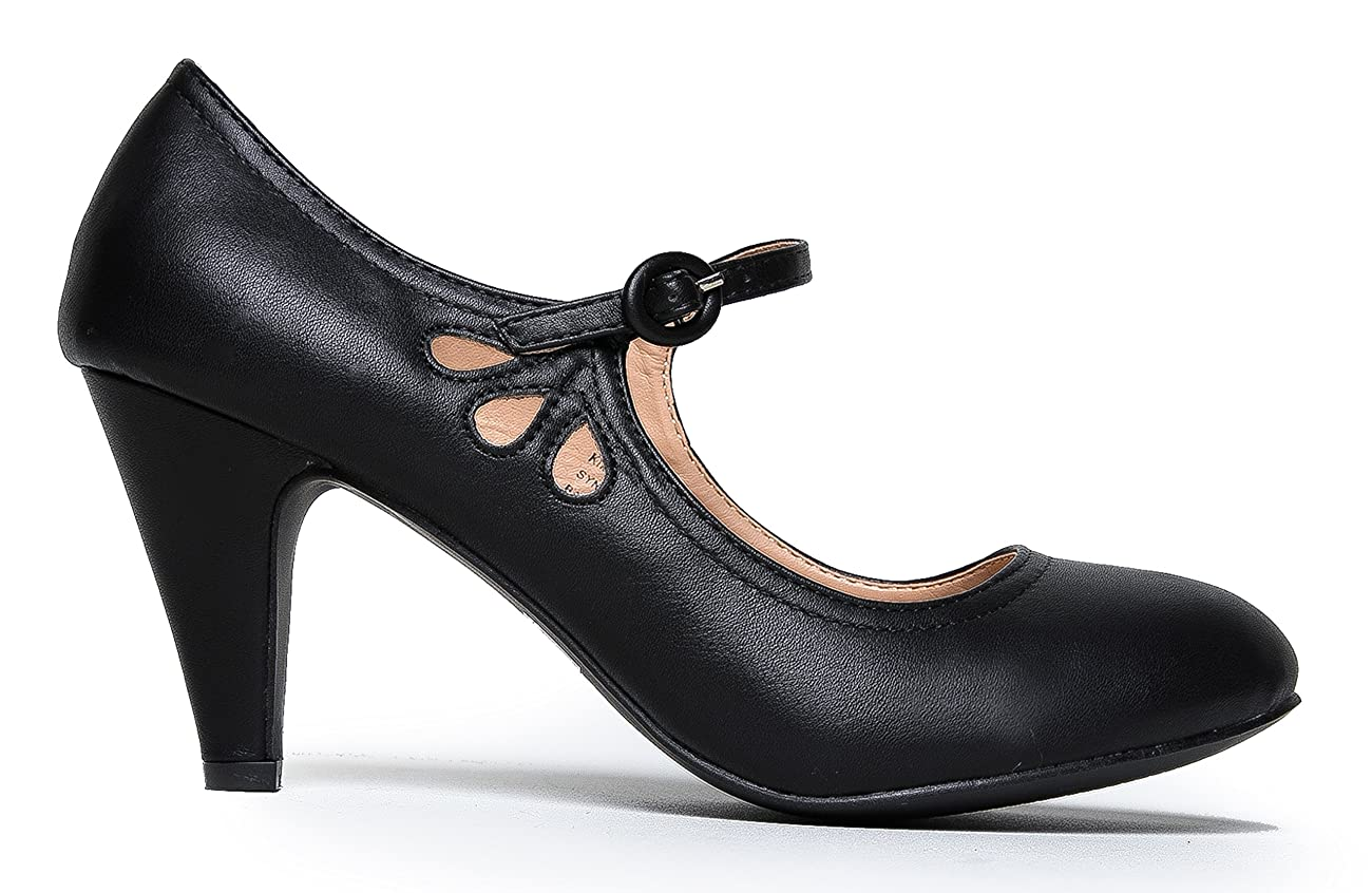Kitten Heels Mary Jane Pumps By Zooshoo- Adorable Vintage Shoes- Unique Round Toe Design With An Adjustable Strap,Black Pu,5.5 B(M) US 1