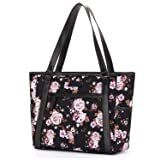 Womens Laptop Bag, BRINCH Classic Nylon Zip Work Tote Bag Shopping Duffel Bag Carry Travel Business Briefcase Shoulder Handbag for Up to 15.6 Inch Laptop/Notebook / MacBook/Tablet,Rose (Color: Black-Rose, Tamaño: 15.6 inches)