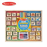 Melissa & Doug Deluxe Wooden Stamp Set, Animal Stamps (Colored Washable Ink Pads, Develops Hand-Eye Coordination, 38 Pieces) (Color: Multicolor, Tamaño: 1 Count)