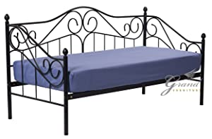 Exclusive Joseph Victorian Style 3FT Single Black Metal Day Bed Guest Sofa Bed Frame Bedstead       reviews and more description