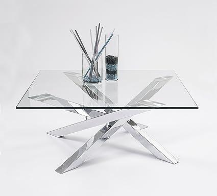 Mesa de centro cuadrada KADOS de cristal templado y patas cromadas