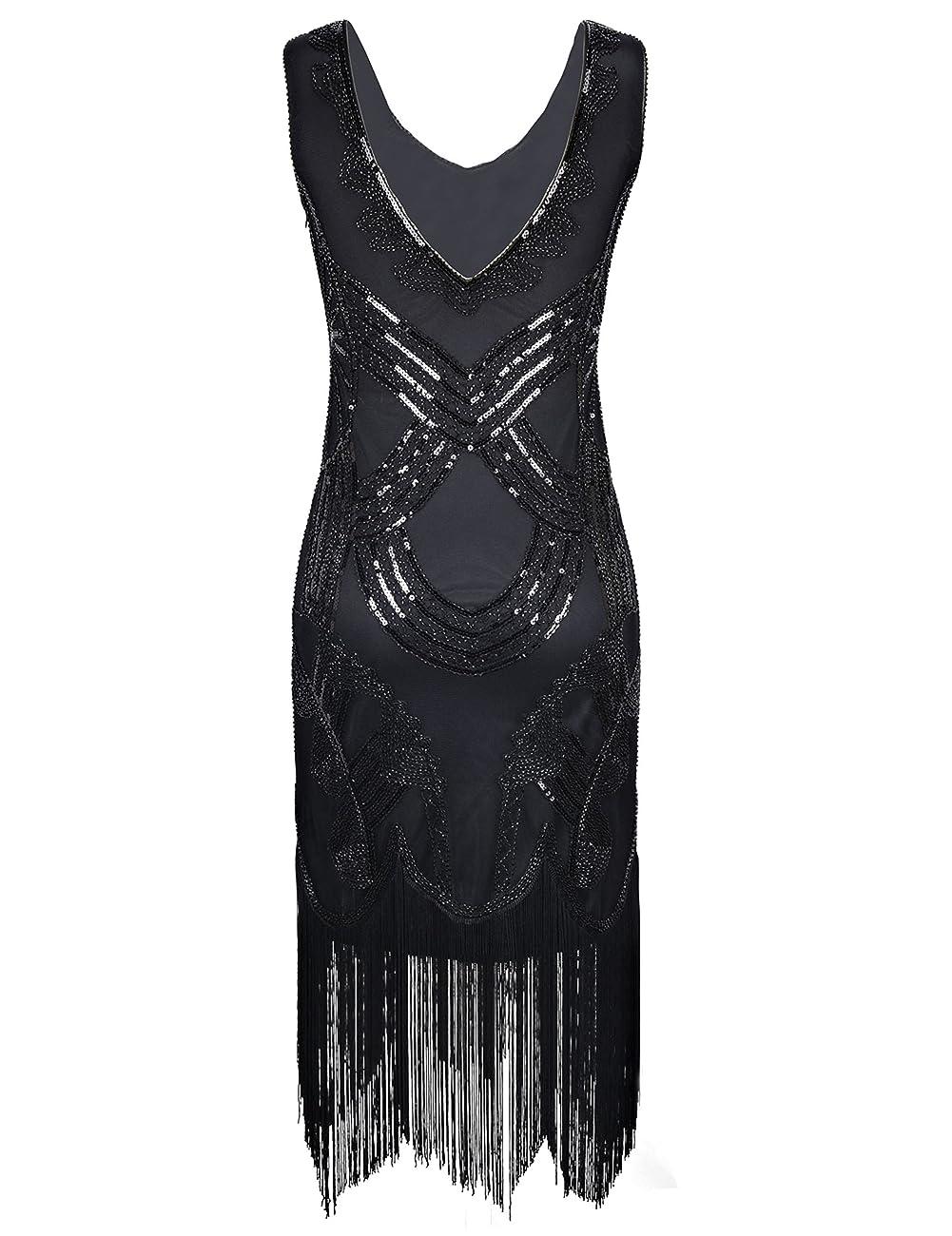 PrettyGuide Women's 1920s Gatsby Art Deco Beads Fringed Cocktail Flapper Dress 1