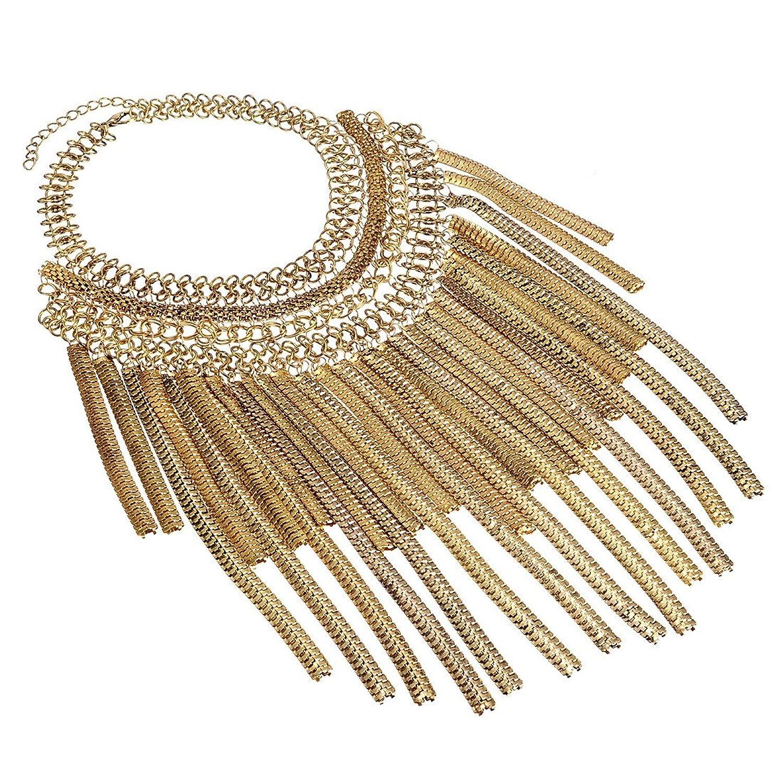 Jerollin Mode Schmuck Quaste Halskette Kette fuer Freundin Geschenk Party Dekoration (Golden) günstig kaufen