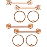 Gejoy 4 Pairs Stainless Steel Nipple Ring Captive Bead Ring Cubic Zirconia Tragus Cartilage Barbell Body Piercing (Rose Gold) (Color: Rose Gold)
