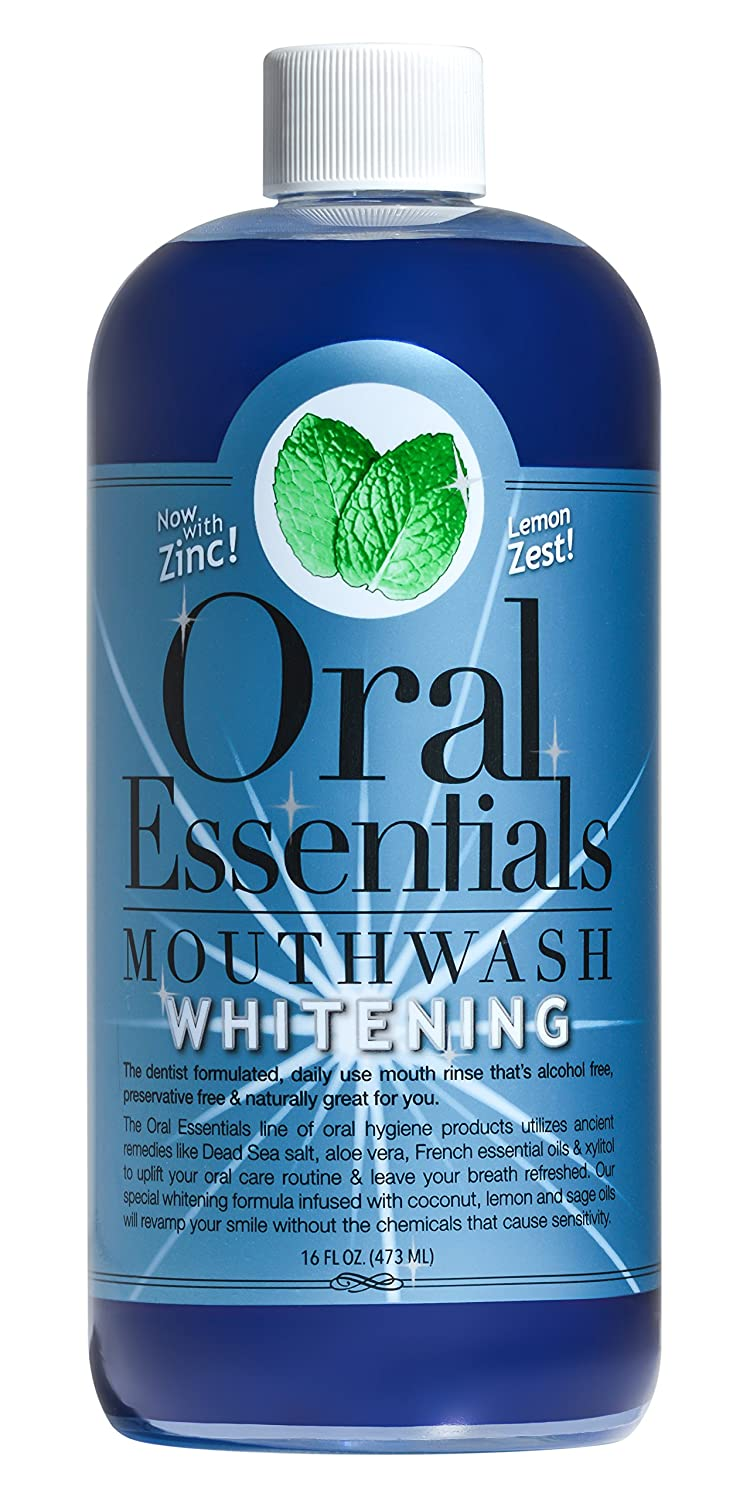 Oral Essentials Whitening Formula Mouthwash 16 Oz. For Daily Use Without Sensitivity: Whiter Teeth in Two Weeks or less Money Back Guarantee