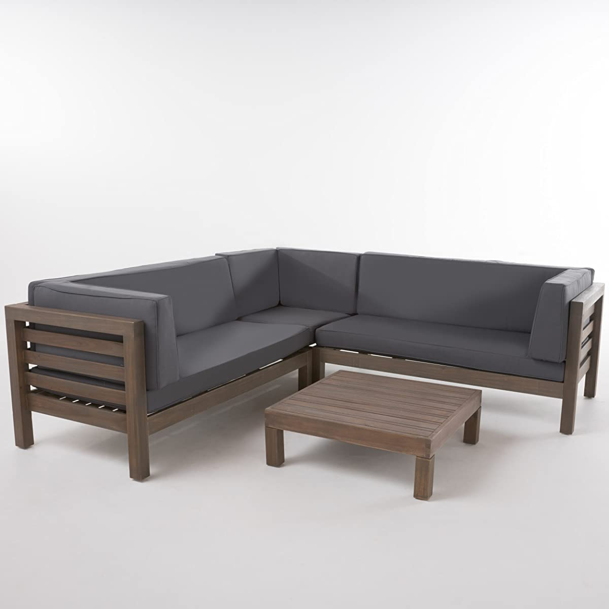 Ravello Outdoor Patio Furniture 4 Piece Wooden Sectional Sofa Set w/ Water Resistant Cushions (Grey)