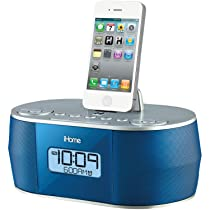 iHOME iD38LVC App-Enhanced Stereo System with Dual Alarm FM Clock Radio for iPhone/iPad/iPod - Retail Packaging - Blue