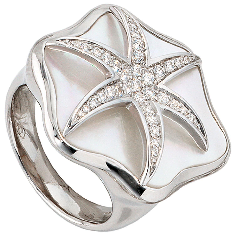 Damen-Ring 925 Sterling Silber Perlmutt-Einlage mit Zirkonia