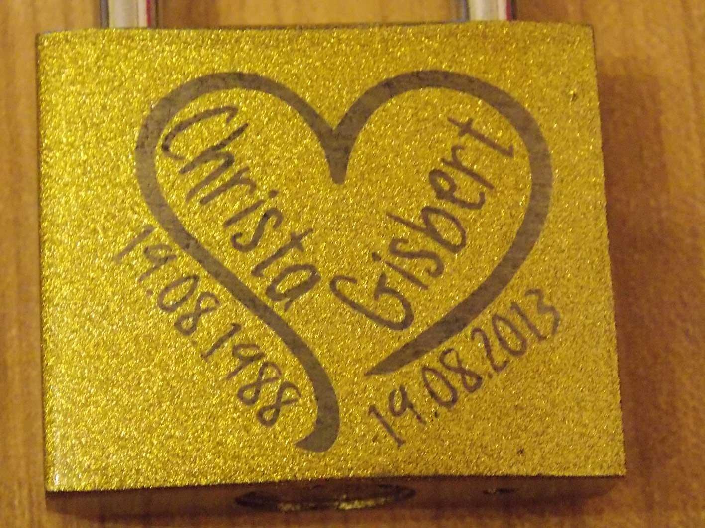 Liebesschloss GOLD 50 mm extra groß incl.