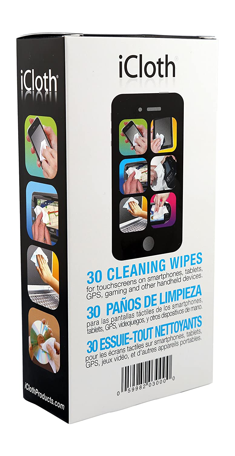 iCloth Screen Cleaning Wipes for a simple and fast shine on smartphones, tablets and computers (iC30) 30 wipe pack