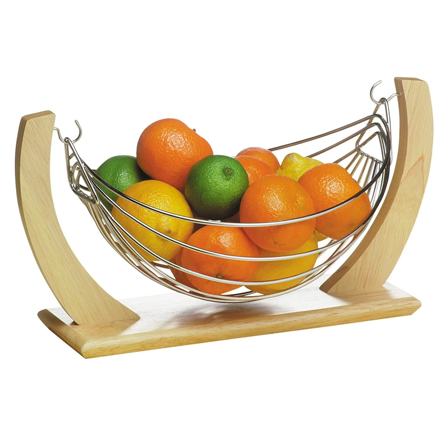 Fruit Basket Storage Vegetable Chrome Wooden Fruit