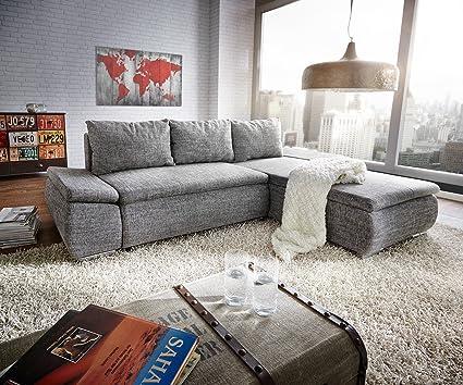 Couch Abilene Grau 260x175 cm Bettfunktion Ottomane variabel Ecksofa