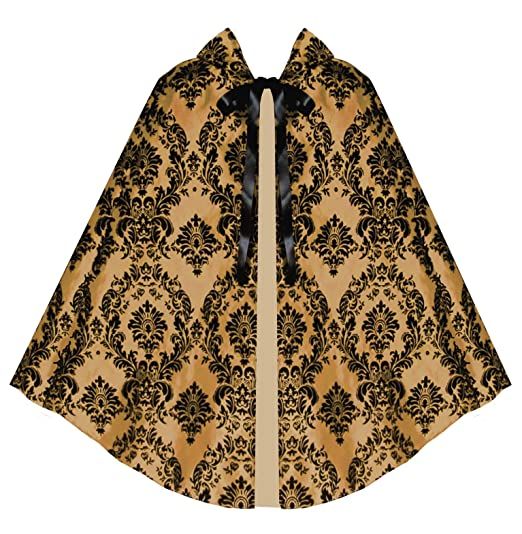 Steampunk Vests and Wraps Victorian Vagabond Historical Steampunk Gothic Renaissance Gold Black Cape Cloak $54.00 AT vintagedancer.com
