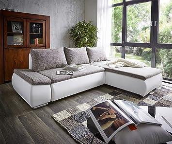 Couch Abilene Weiss 260x175cm Schlaffunktion Ottomane variabel