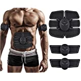 Muscle Toner, Abdominal Toning Belt, EMS ABS Trainer Wireless Body Gym Workout Home Office Fitness Equipment For Abdomen/Arm/Leg Training Men Women By JIA LE (Color: Black)