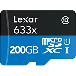 Lexar Professional 200GB microSDXC Flash Memory Card with USB 3.0 Adapter