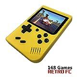 BAORUITENG Handheld Game Console, Retro FC Game Console,Video Game Console with 3 Inch 168 Classic Games (Yellow) (Color: Yellow)