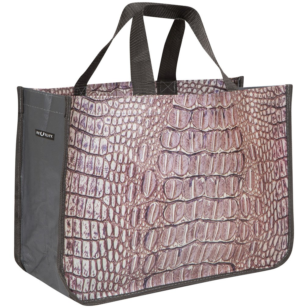 Reusable Market Grocery Bag Tote – Crocodile Print – Gray – Made from Recycled Materials
