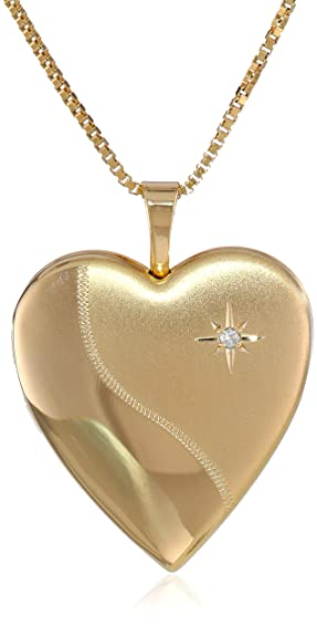 Golden Heart Locket Necklace with a Diamond