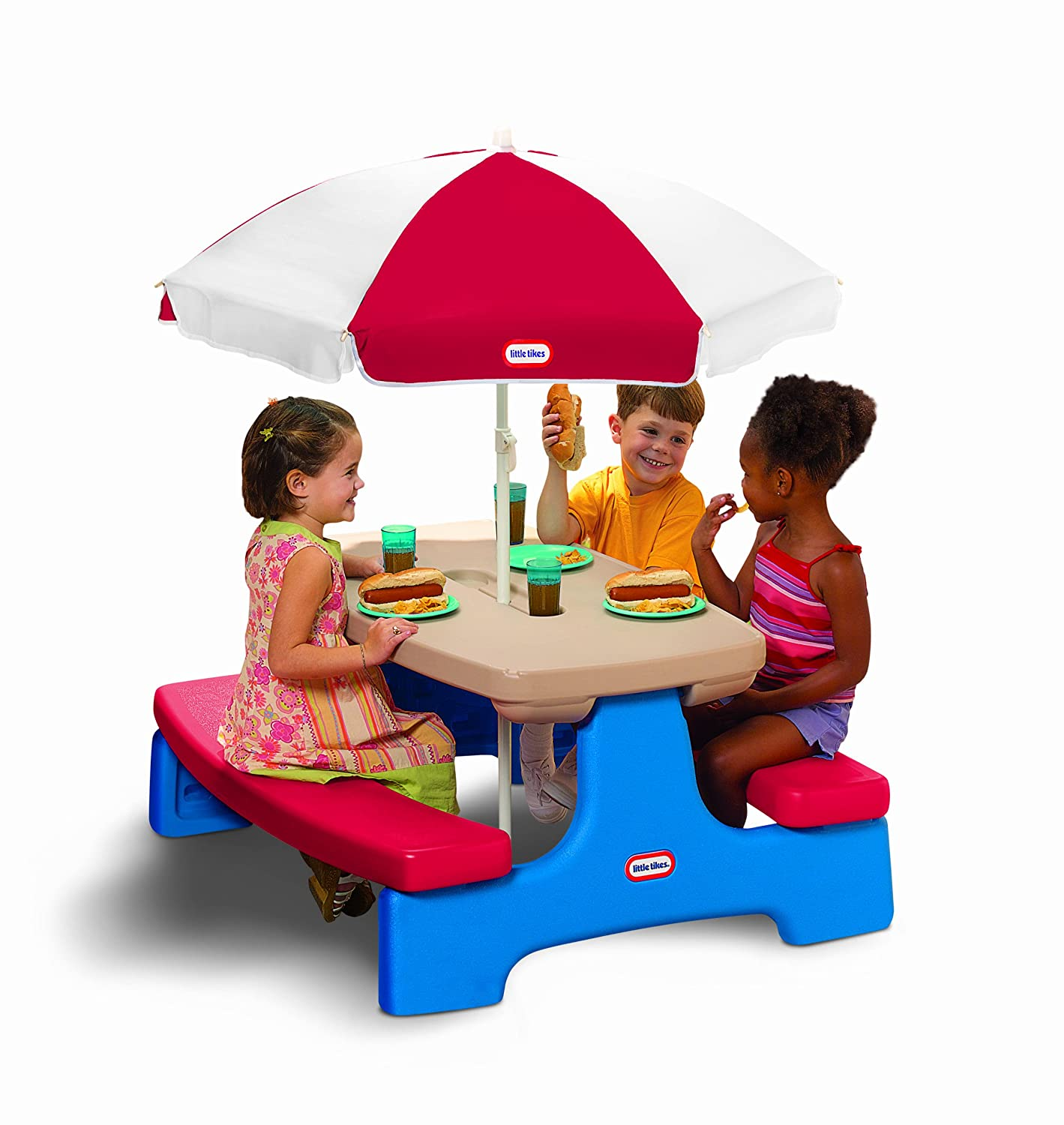 An Image of Little Tikes Easy Store Large Picnic Table with Umbrella