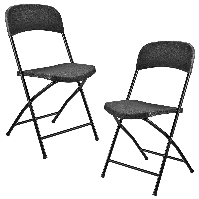 [casa.pro] Klappstuhl aus Kunststoff – 2er Set – dunkelgrau klappbar leicht – perfekt zum Campen, Angeln oder Grillpartys günstig kaufen