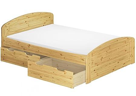 Funktionsbett Doppelbett + Bettkasten Rollrost Matratze 140x200 Seniorenbett Massivholz 60.50-14 M