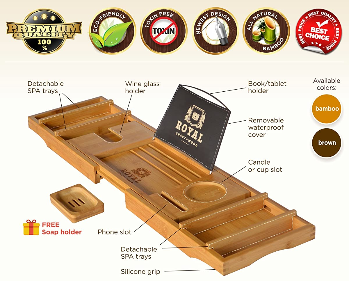 ROYAL CRAFT WOOD Luxury Bathtub Caddy Tray, Bonus FREE Soap Holder (BROWN or BAMBOO colors)