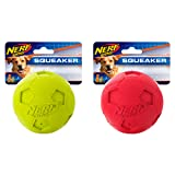 Nerf Dog (2-Pack) Soccer Squeak Ball Dog Toy, Red/Green, Large (Color: Red/Green, Tamaño: Large)