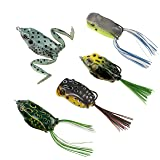 RUNCL Topwater Frog Lures, Soft Fishing Lure Kit with Tackle Box for Bass Pike Snakehead Dogfish Musky (Pack of 5) (Color: 5 different frog lures, Tamaño: 2.2-2.4 inches)