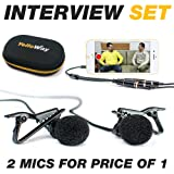 2x Lavalier Microphones plus Lapel Mic audio splitter / y-connector | mics for vlogging streaming interview podcast recording for 1 iPhone / smartphone