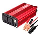 Bapdas 500W Power Inverter Converter DC 12V to AC 110V Car Charger with 4.2A 2 USB Ports Car Power Adapter-Red
