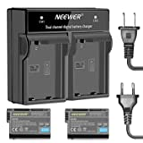 Neewer 2-Pack Nikon EN-EL15 Replacement Rechargeable Li-on Battery (Black), 7.0V 2000mAh and Dual Charger for Nikon D7000 D7100 D7200 D750 D800 D800E Cameras and MB-D11 MB-D12 Battery Grip(US/EU Plug)