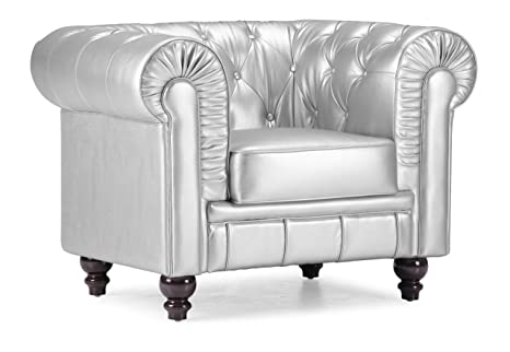 ZUO Aristocrat Armchair, Silver Leatherette