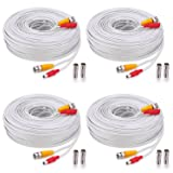 WildHD 4x150ft All-in-One Siamese BNC Video and Power Security Camera Cable BNC Extension Wire Cord with 2 Female Connetors for All HD CCTV DVR Surveillance System (White)