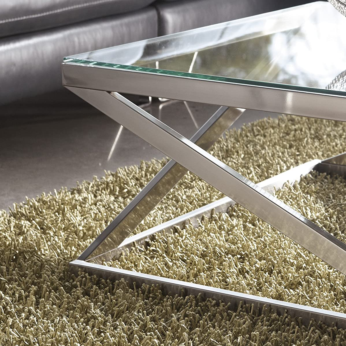 Coly Brushed Nickel Finish Square Cocktail Table COFFEE TABLE