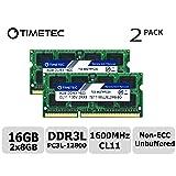 Timetec Hynix IC 16GB Kit(2x8GB) DDR3L 1600MHz PC3L-12800 Non ECC Unbuffered 1.35V CL11 2Rx8 Dual Rank SODIMM Laptop Memory Ram (16GB Kit(2x8GB)) (Tamaño: 16GB Kit (2x8GB))