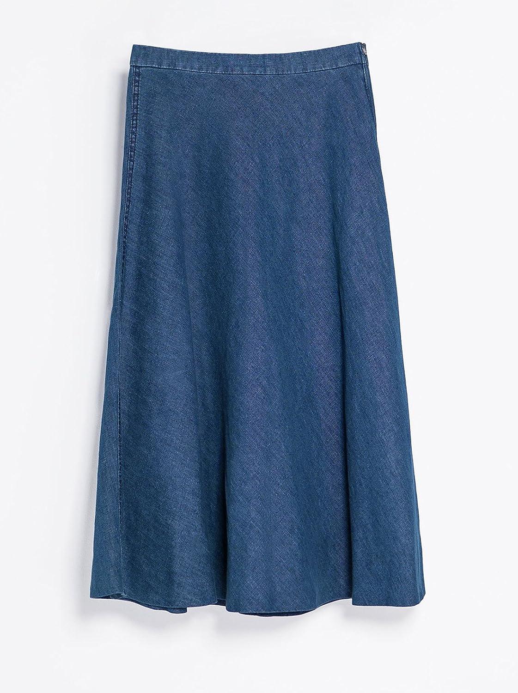 Amazon.co.jp: (アールポート) R-port レディース ミモレ丈 フレア デニム ロング スカート: 服&ファッション小物通販