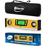 Digital Magnetic Level Tool - 10 Inch Torpedo Level and Protractor - Master Precision - IP54 Dustproof and Waterproof - Includes: 2 AAA Batteries and Carrying Case (Color: Yellow, Tamaño: 10 Inch)